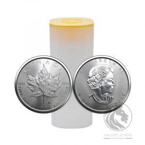 tub 25 monede argint maple leaf